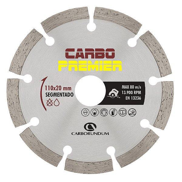 Caixa com 10 Disco de Corte Carbo Primier Diamantado Segmentado 110 x 7,5 x 20 mm