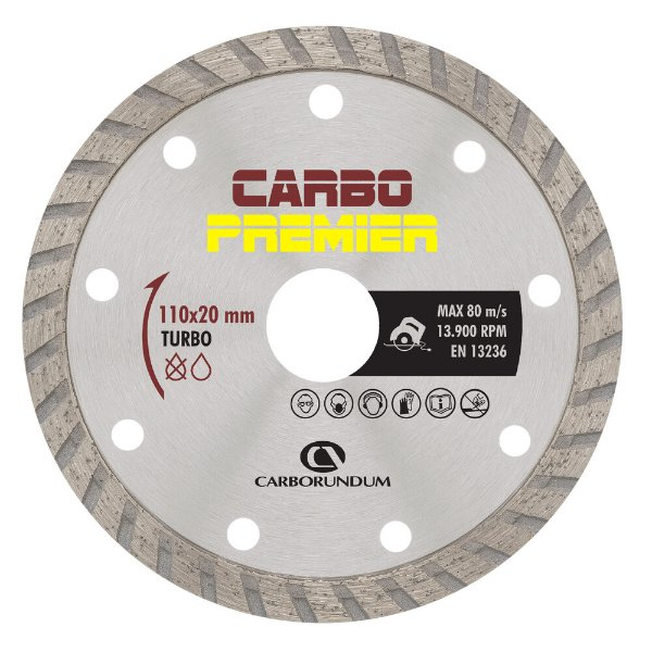 Caixa com 10 Disco de Corte Carbo Primier Diamantado Turbo 110 x 8 x 20 mm