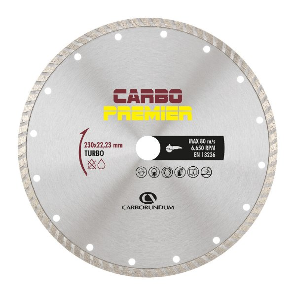 Caixa com 5 Disco de Corte Carbo Primier Diamantado Turbo 230 x 22,23 mm