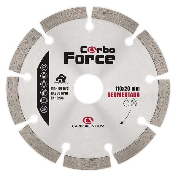 Caixa com 10 Disco de Corte Carboforce Diamantado Segmentado 110 x 20 mm