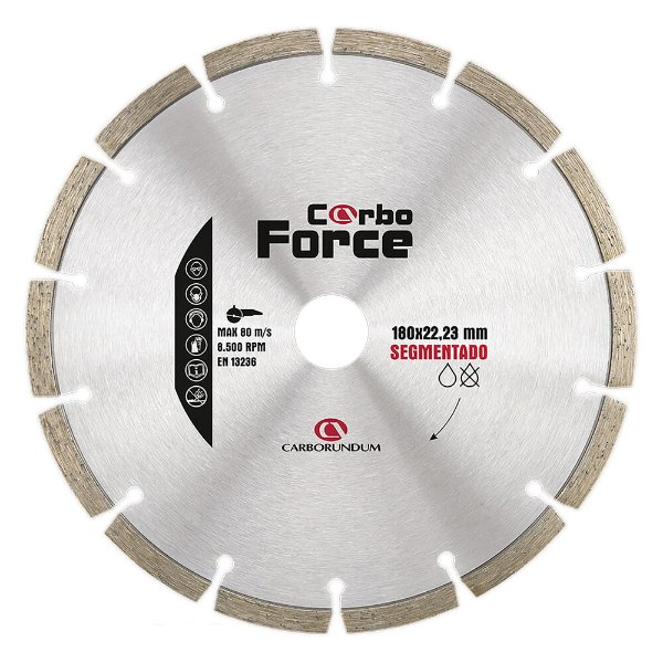 Caixa com 5 Disco de Corte Carboforce Diamantado Segmentado 180 x 22,23 mm