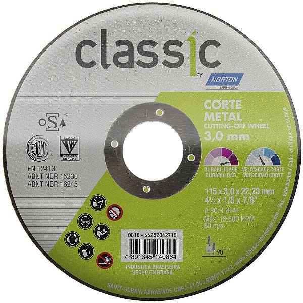 Caixa com 25 Disco de Corte Classic Basic AR302 115 x 3 x 22,23 mm