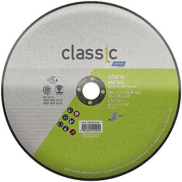 Caixa com 10 Disco de Corte Classic Basic AR302 254 x 3,2 x 19,05 mm
