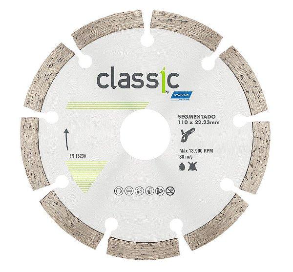 Caixa com 10 Disco de Corte Classic Segmentado Diamantado 110 x 7 x 22,23 mm