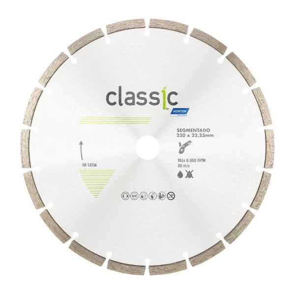 Caixa com 5 Disco de Corte Classic Segmentado Diamantado 230 x 22,23 mm