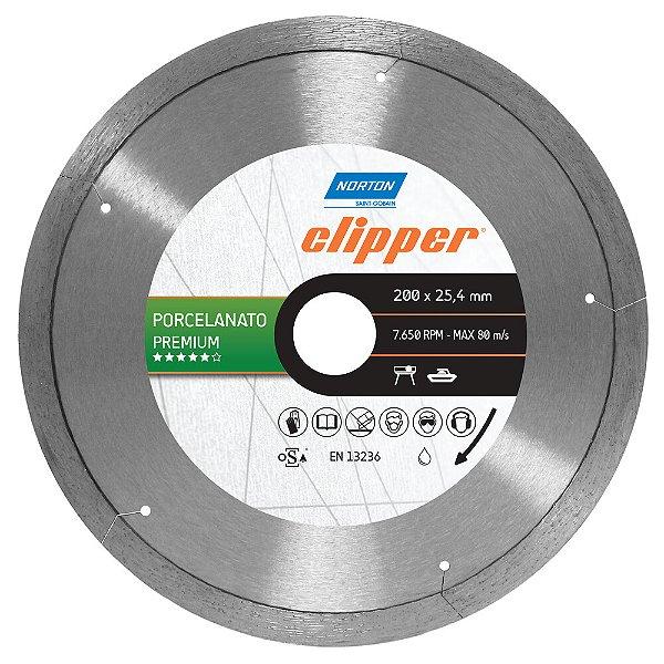 Caixa com 5 Disco de Corte Clipper Porcelanato Diamantado Premium 200 x 25,4 mm