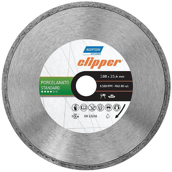 Disco de Corte Clipper Porcelanato Diamantado Standard 180 x 25,4 mm Caixa com 5