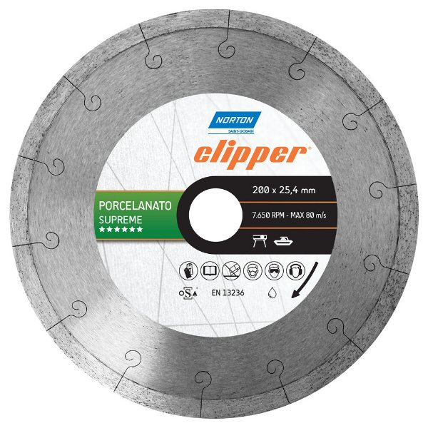Caixa com 3 Disco de Corte Clipper Porcelanato Diamantado Supreme 200 x 25,4 mm