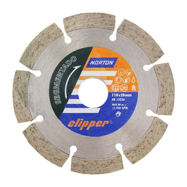 Caixa com 10 Disco de Corte Clipper Segmentado Diamantado 110 x 10 x 20 mm