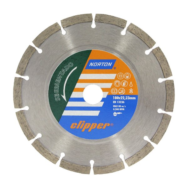 Caixa com 5 Disco de Corte Clipper Segmentado Diamantado 180 x 8 x 22,23 mm