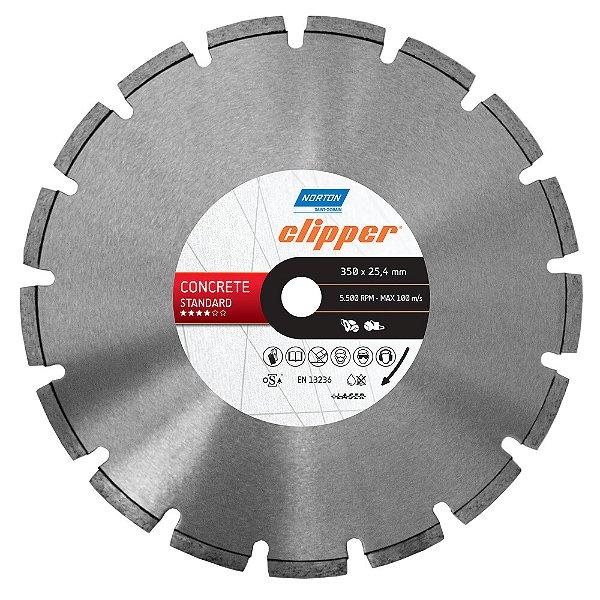 Caixa com 1 Disco de Corte Clipper Segmentado Diamantado Concreto Standard 350 x 25,4 mm