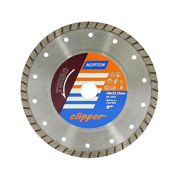 Disco de Corte Clipper Turbo Diamantado 180 x 8 x 22,23 mm Caixa com 5