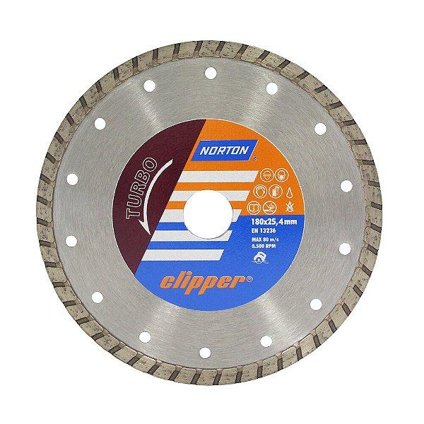 Caixa com 5 Disco de Corte Clipper Turbo Diamantado 180 x 8 x 25,4 mm