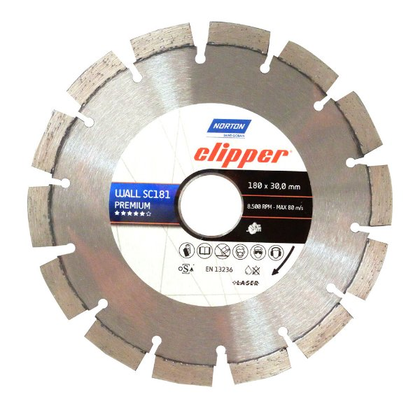 Caixa com 5 Disco de Corte Clipper Wall Constrution Diamantado Premium 180 x 30 mm