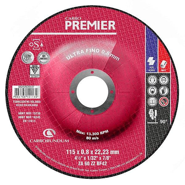Caixa com 25 Disco de Corte com Depressão T42 Carbo Premier para Aço 115 x 0,8 x 22,23 mm