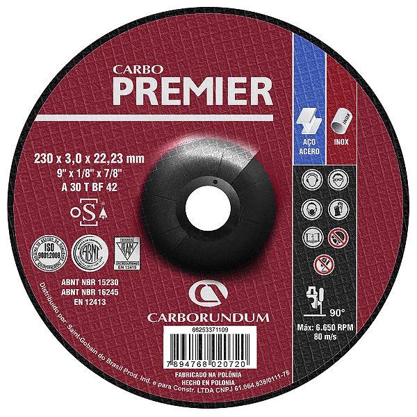 Disco de Corte com Depressão T42 Carbo Premier para Aço 230 x 3,0 x 22,23 mm Caixa com 25