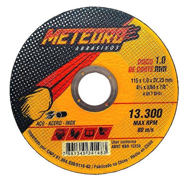 Caixa com 25 Disco de Corte Fino Meteoro 115 x 1,6 x 22,23 mm
