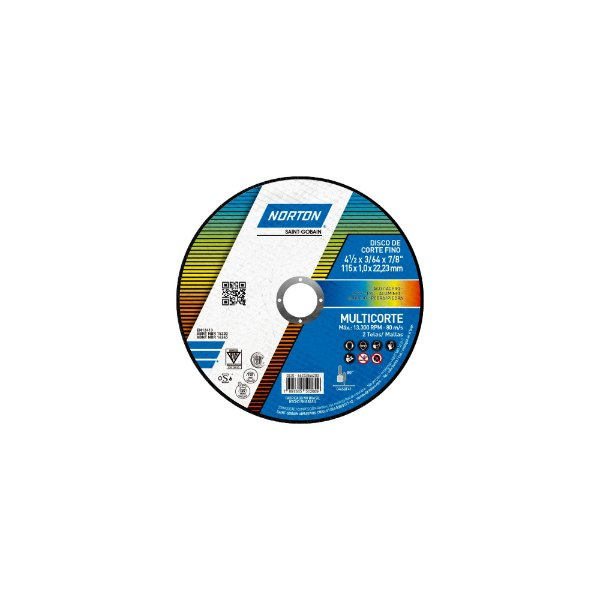 Caixa com 25 Disco de Corte Multicorte 115 x 1 x 22,23 mm