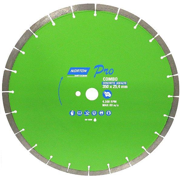 Caixa com 1 Disco de Corte Pro Combo Diamantado 350 x 25,4 mm