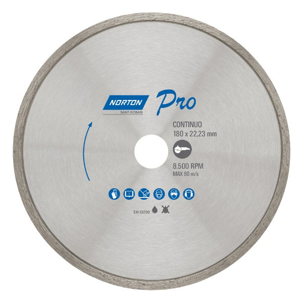 Caixa com 5 Disco de Corte Pro Contínuo Diamantado 180 x 5 x 22,23 mm