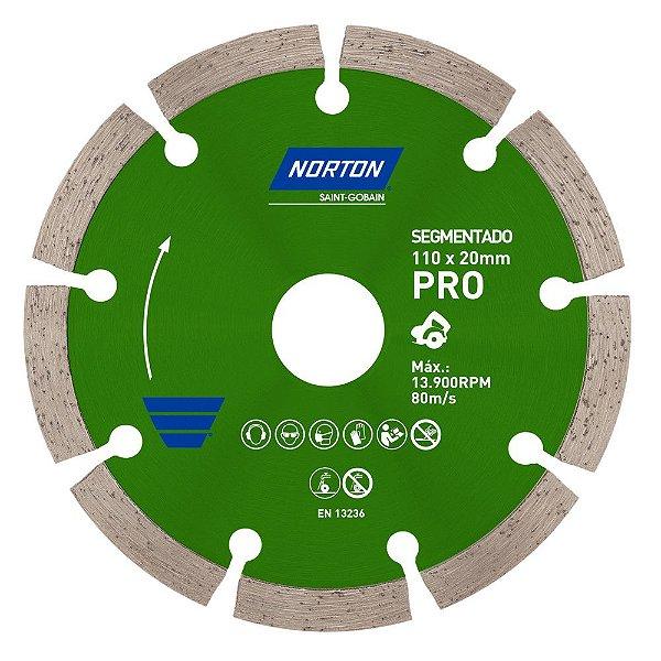 Caixa com 10 Disco de Corte Pro Segmentado Diamantado 110 x 20 mm