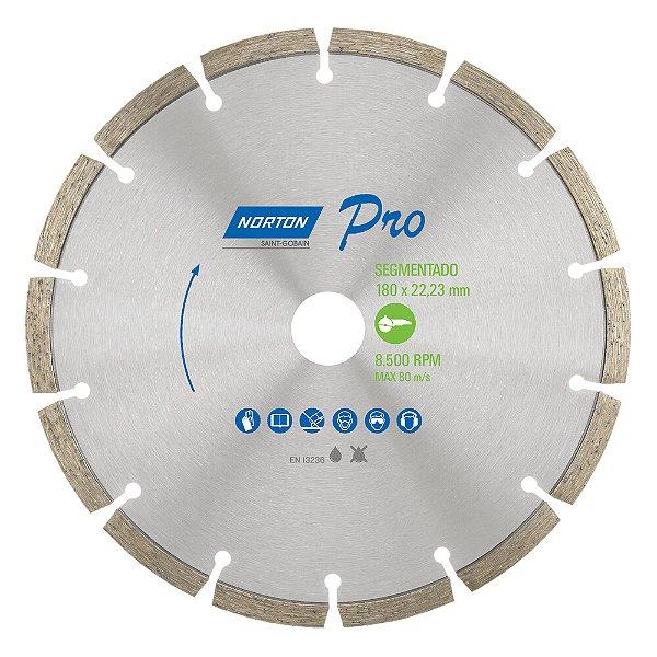 Caixa com 5 Disco de Corte Pro Segmentado Diamantado 180 x 22,23 mm