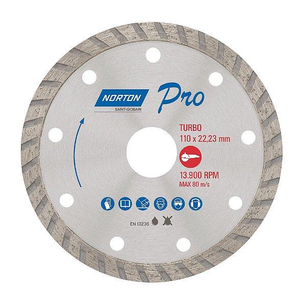 Caixa com 10 Disco de Corte Pro Turbo Diamantado 110 x 22,23 mm