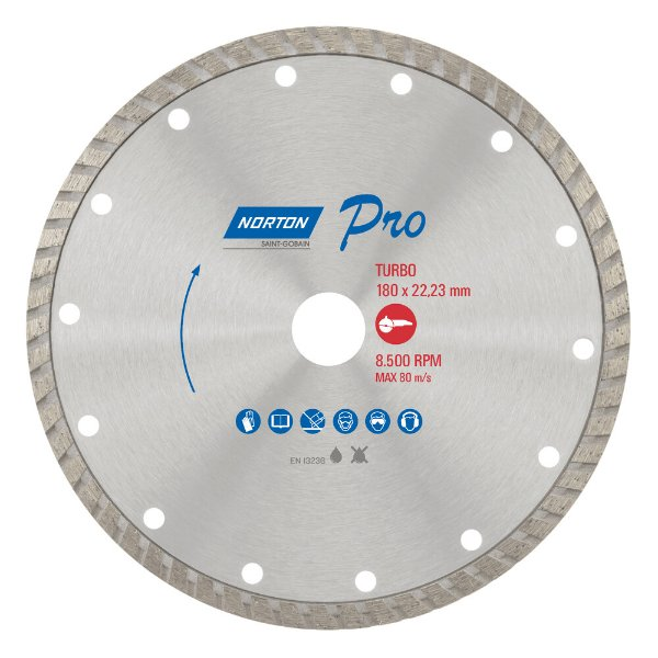 Caixa com 5 Disco de Corte Pro Turbo Diamantado 180 x 22,23 mm