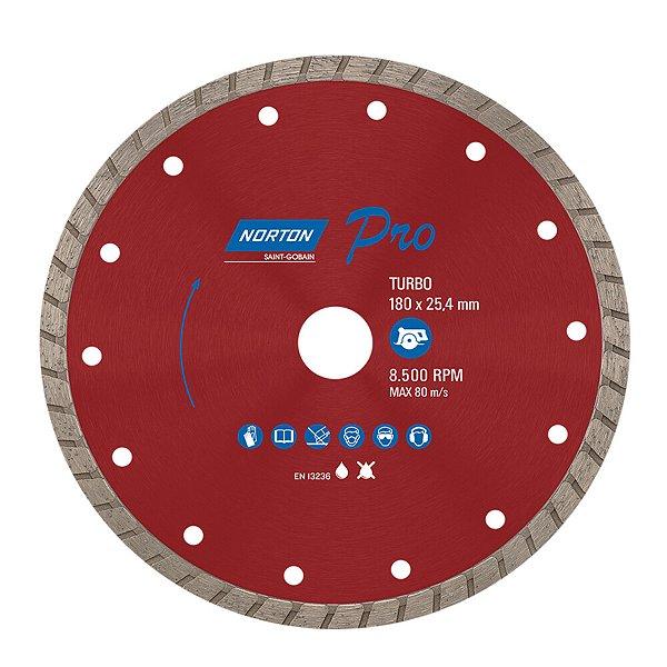 Caixa com 5 Disco de Corte Pro Turbo Diamantado 180 x 25,4 mm