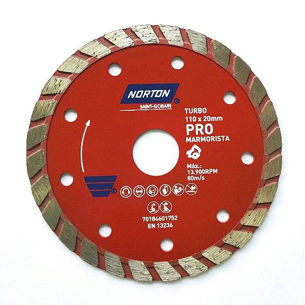 Caixa com 20 Disco de Corte Pro Turbo Diamantado Marmorista 110 x 20 mm