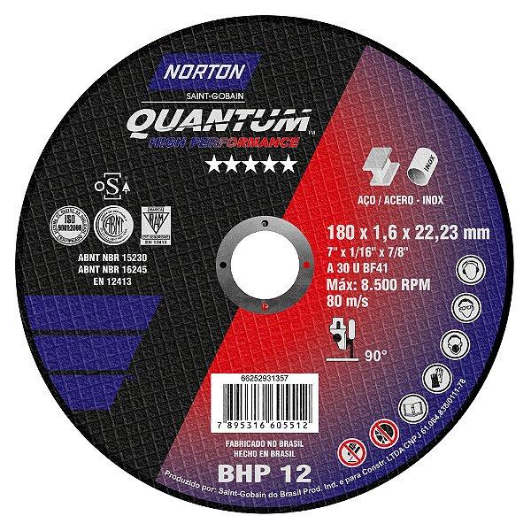 Caixa com 25 Disco de Corte Quantum BHP12 180 x 1,6 x 22,23 mm