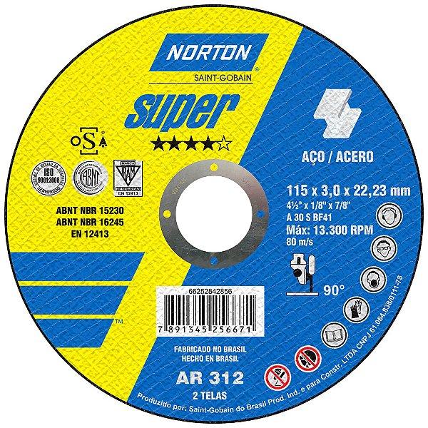 Caixa com 25 Disco de Corte Super Aços AR312 115 x 3 x 22,23 mm