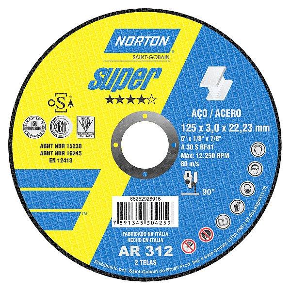 Disco de Corte Super Aços AR312 125 x 3 x 22,23 mm Caixa com 25