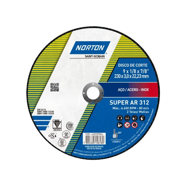 Caixa com 25 Disco de Corte Super Aços AR312 230 x 3 x 22,23 mm