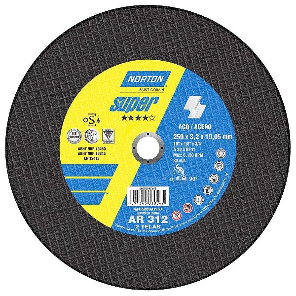 Caixa com 10 Disco de Corte Super Aços AR312 250 x 3,2 x 19,05 mm