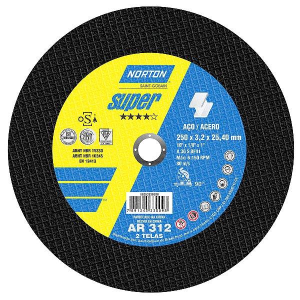 Caixa com 10 Disco de Corte Super Aços AR312 250 x 3,2 x 25,4 mm