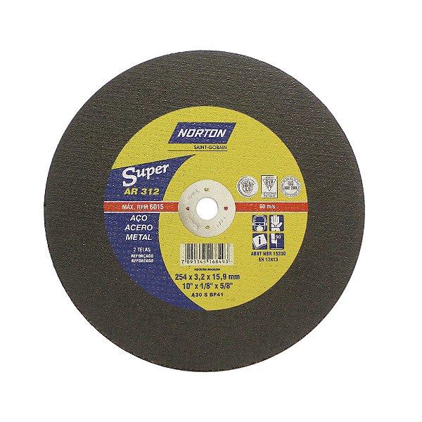 Caixa com 10 Disco de Corte Super Aços AR312 254 x 3,2 x 15,87 mm