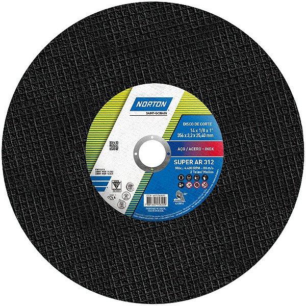 Caixa com 10 Disco de Corte Super Aços AR312 356 x 3,2 x 25,4 mm