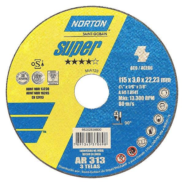Disco de Corte Super Aços AR313 115 x 3 x 22,23 mm Caixa com 25