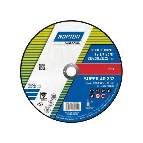 Caixa com 25 Disco de Corte Super Aços AR332 230 x 3 x 22,23 mm
