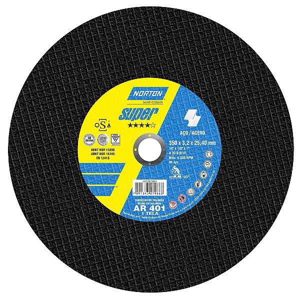 Disco de Corte Super Aços AR401 350 x 3,2 x 25,40 mm Caixa com 10