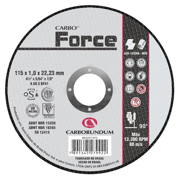 Caixa com 25 Disco de Corte T41 Carbo Force 115 x 1,0 x 22,23 mm