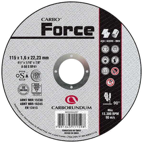 Caixa com 25 Disco de Corte T41 Carbo Force 115 x 1,6 x 22,23 mm