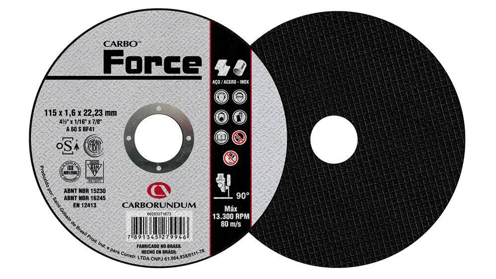Disco de Corte T41 Carbo Force 115 x 1,6 x 22,23 mm Caixa com 25
