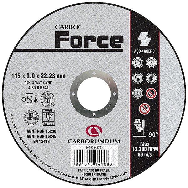 Caixa com 25 Disco de Corte T41 Carbo Force 115 x 3,0 x 22,23 mm
