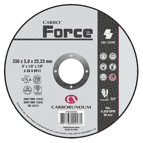 Caixa com 10 Disco de Corte T41 Carbo Force 230 x 3 x 22,23 mm