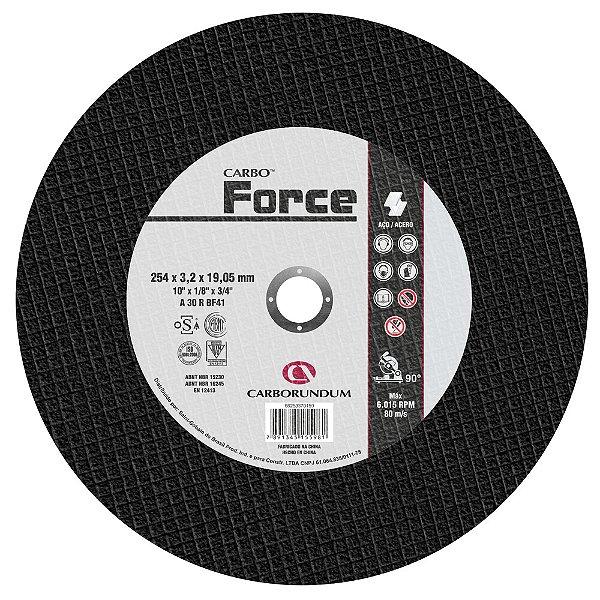 Caixa com 10 Disco de Corte T41 Carbo Force 254 x 3,2 x 19,05 mm