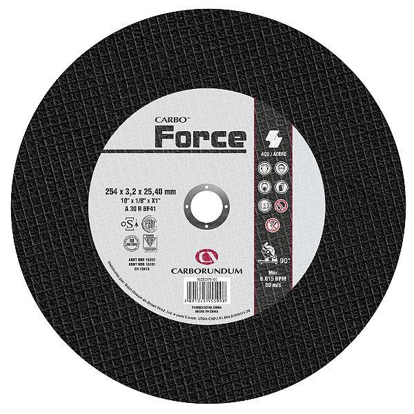 Caixa com 10 Disco de Corte T41 Carbo Force 254 x 3,2 x 25,40 mm