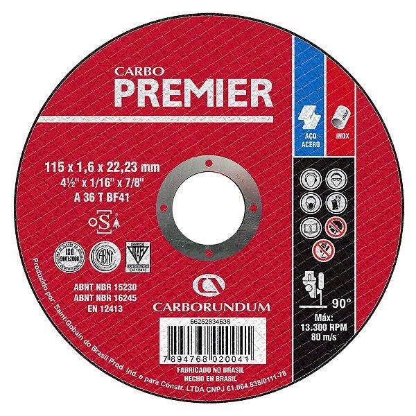 Disco de Corte T41 Carbo Premier para Aço 115 x 1,6 x 22,23 mm Caixa com 25