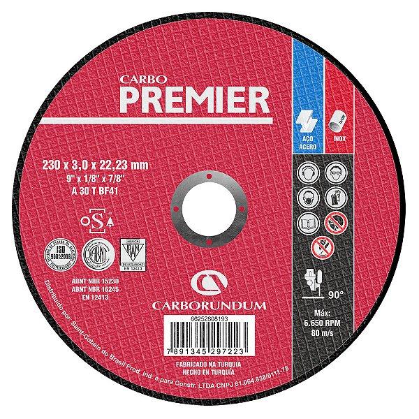 Caixa com 25 Disco de Corte T41 Carbo Premier para Aço 230 x 3,0 x 22,23 mm